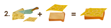 Отрезаем ножом ломтик сыра. Кладем сыр на ломтик хлеба и получаем бутерброд с сыром